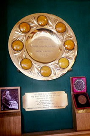 The trophy, looking peachy, in its cabinet at Hesketh, photo by Alex Ridley