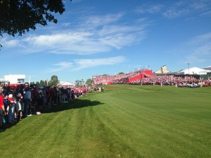 Looking back up to the first tee