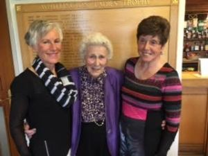 Doreen Banks flanked by Jenny Smale (right) and Ann Tweddle.