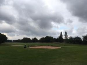The 18th at Whittington Heath, featuring the ever-popular captains' bunker.