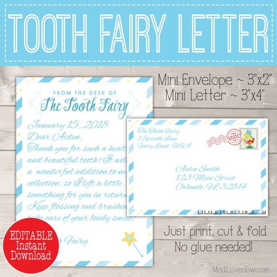 Blue Tooth Fairy Letter With Envelope