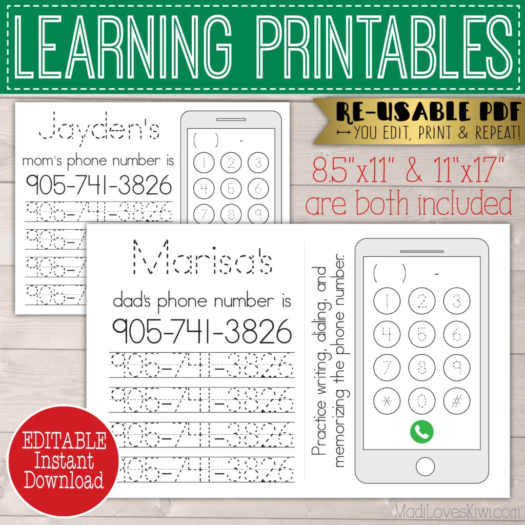 Personalized Phone Number Tracing Worksheet Editable