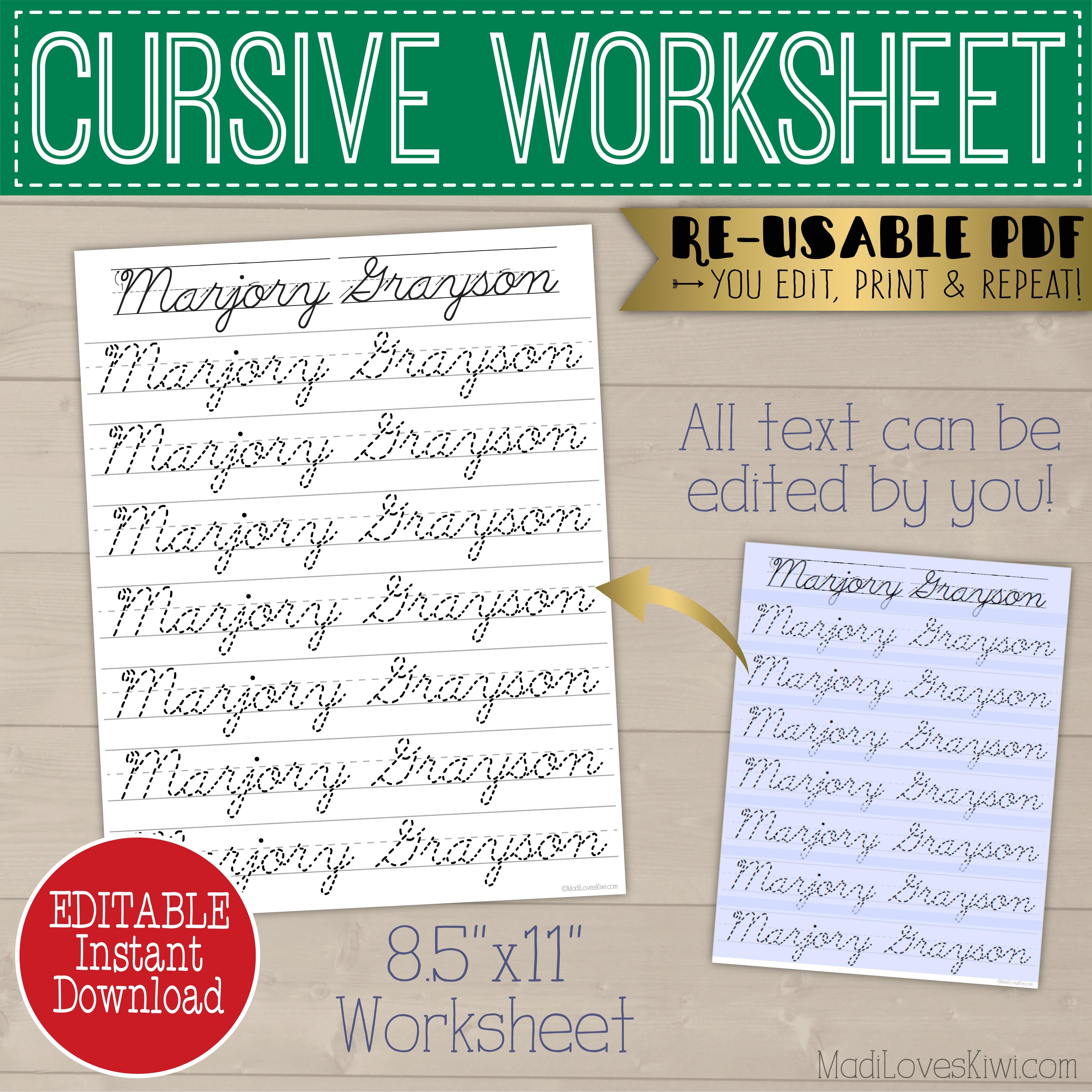 Printable Cursive Name Writing Worksheet Editable Script
