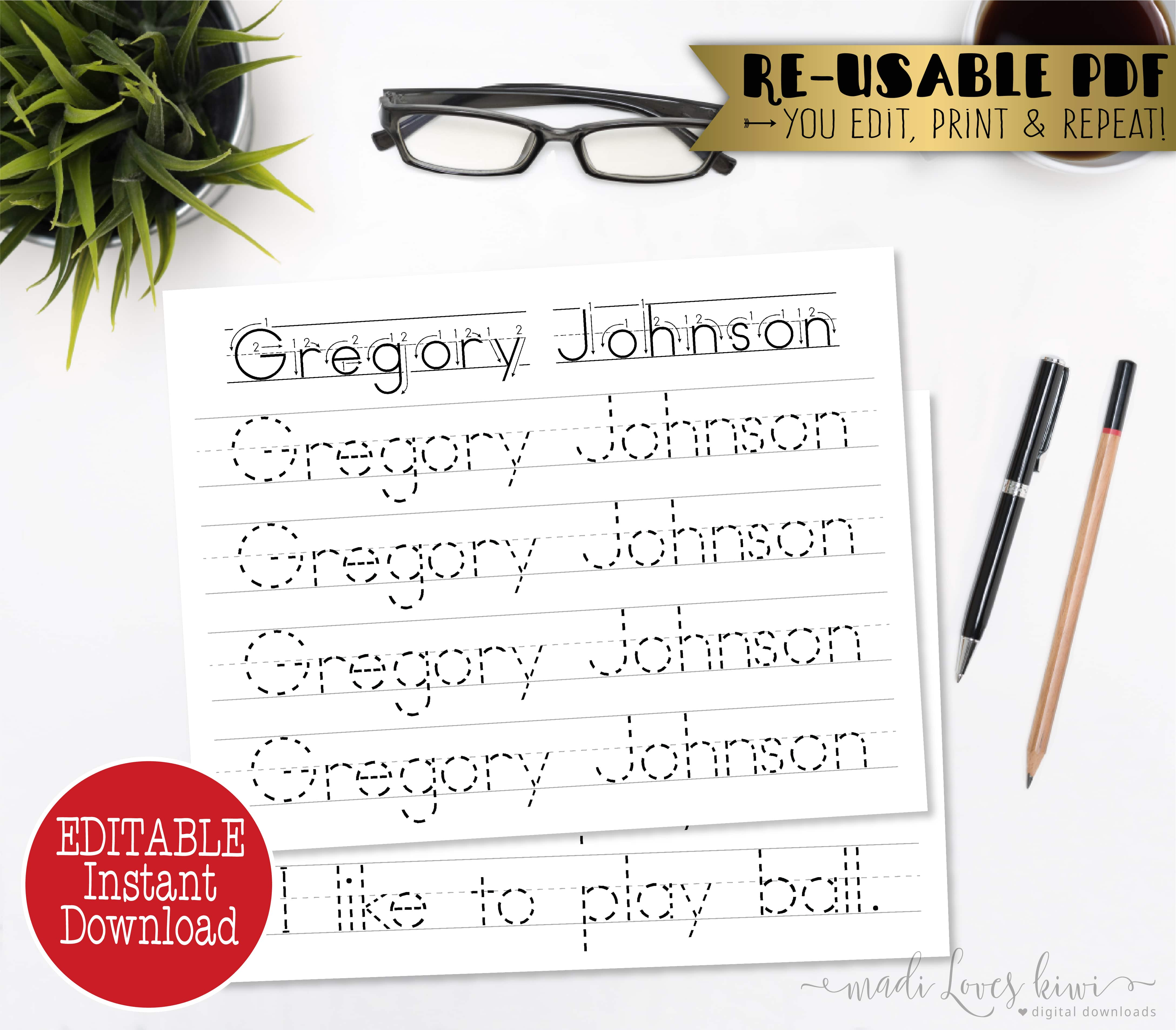 Editable Name Writing Worksheet Printable Handwriting