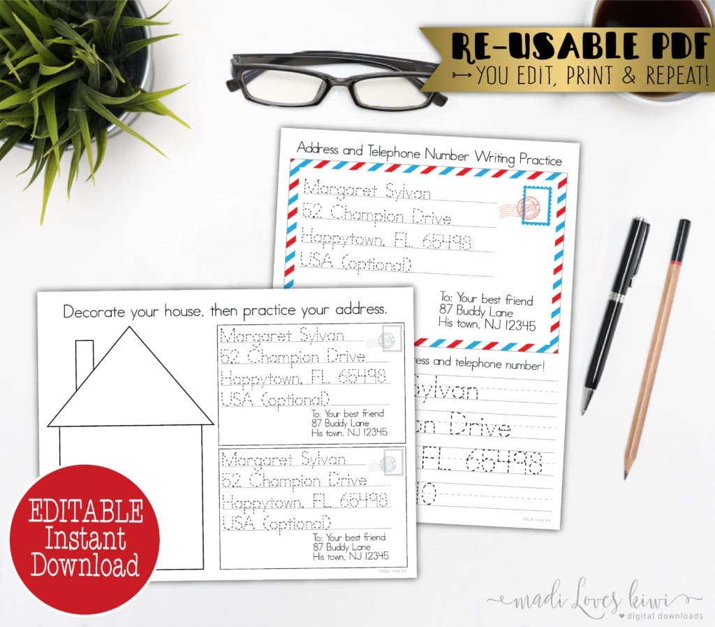 Personalized Learn My Address Worksheet Editable