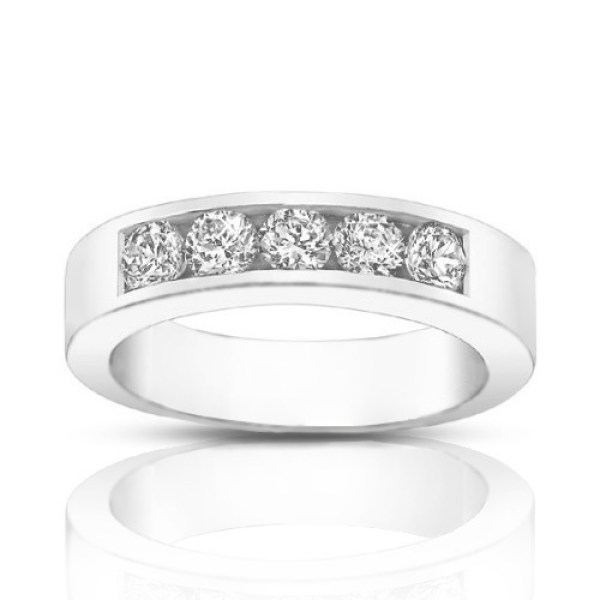 0.50 ct Round Cut Diamond Wedding Band Ring in Channel Setting