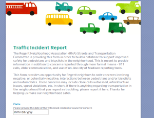 Screen shot of traffic incident reporting tool