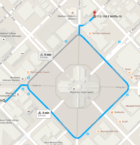 The circuitous route across the Capitol Square (Image: Google Maps)