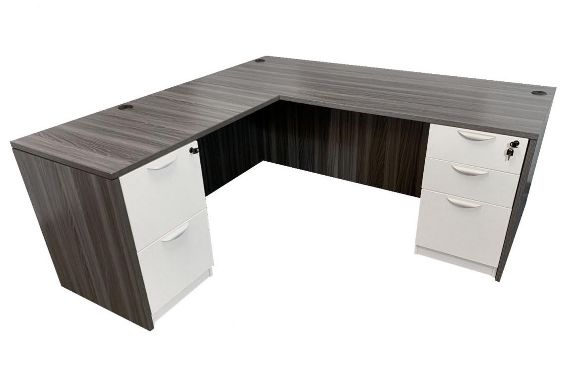 Modern L Shaped Desk With White Drawers Madison Liquidators