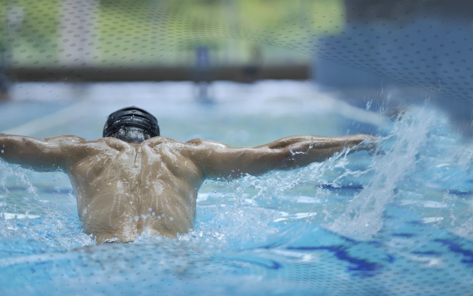 man swimming competitively