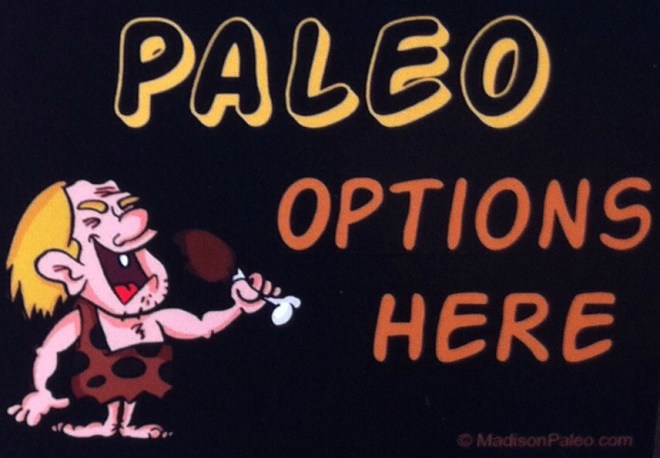 """paleo options"" window sticker"