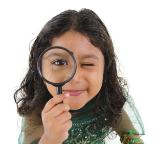 girl looking searching magnifying glass curious searching