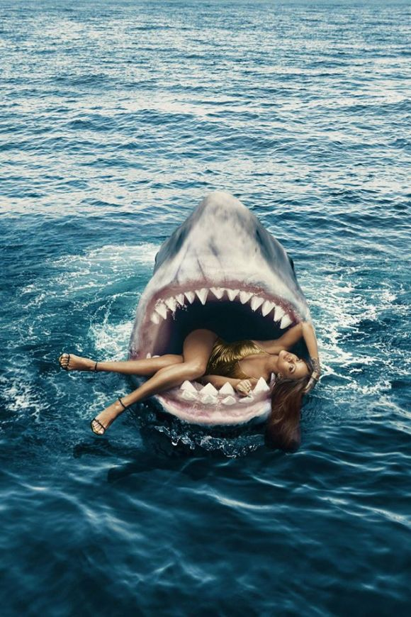 Rihanna Harper's Bazaar swimming with sharks