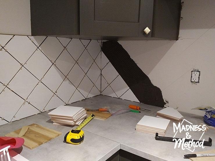 installing a diamond tile pattern