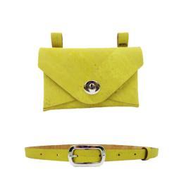 Sac ceinture jaune citron en liège pour femme