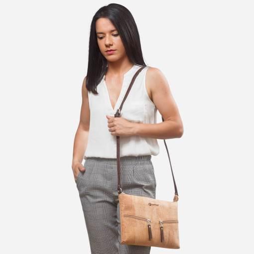 Petit sac épaule naturel en liège pour femme