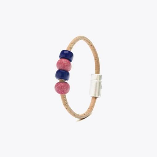Bracelet rose bonbon en liège pour enfant