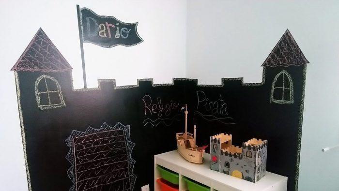 Mural castillo pirata de pizarra