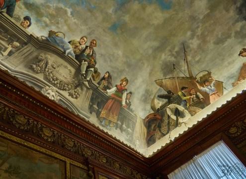 Detalles de la pintura del techo