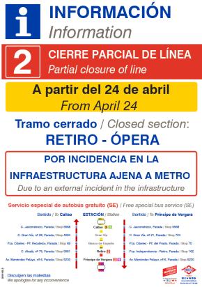 El cierre de la línea 2 de Metro por las obras en Canalejas se extiende a Sol 1