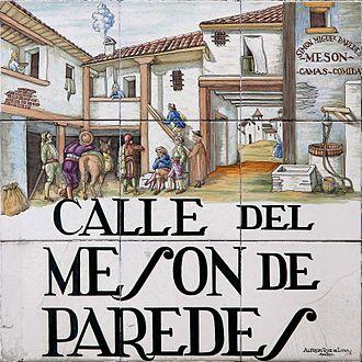 Azulejo de la calle del Mesón de Paredes