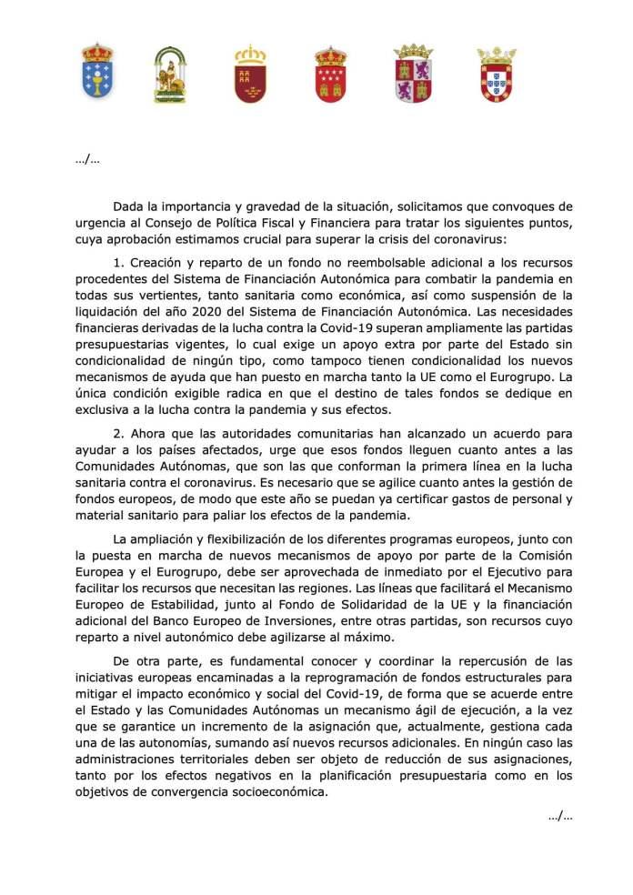 Cinco autonomías reclaman a Sánchez financiación sin condiciones, igual que España a la UE 2