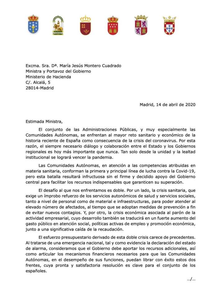 Cinco autonomías reclaman a Sánchez financiación sin condiciones, igual que España a la UE 1