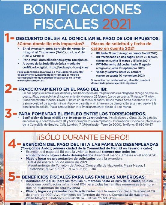 Torrejón mantiene la bajada del 5% en impuestos municipales en 2021 1