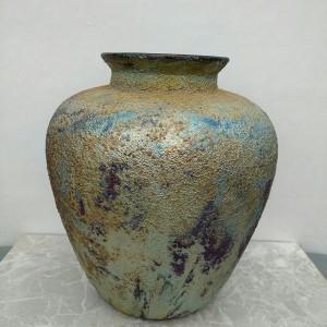Large Raku Round Vase