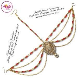 Madz Fashionz UK: Fatima Traditional Red Bridal Chandelier Matha Patti
