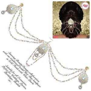Madz Fashionz UK: Beautydosage Juda Bridal Hair Bun Headpiece Jodha Gold White 3