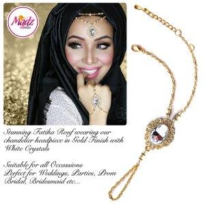 Madz Fashionz UK Fatiha World Chandelier Handpiece Slave Bracelet Gold and White