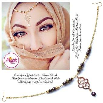 Madz Fashionz UK: Maryam Cypriotsister Pearl Drop Headpiece Gold Brown