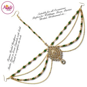 Madz Fashionz UK: Fatima Traditional Green Bridal Chandelier Matha Patti