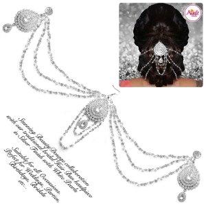 Madz Fashionz UK: Beautydosage Bridal Hair Bun Headpiece Jodha Silver White 2