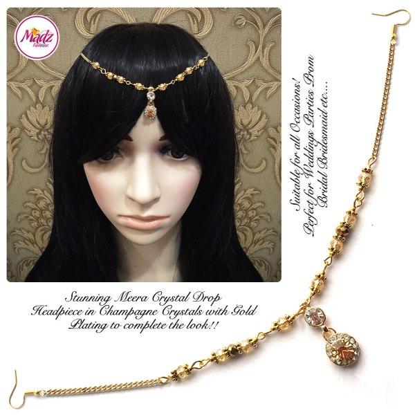 Madz Fashionz UK: Meera Crystal Matha Patti Headpiece Gold Champagne