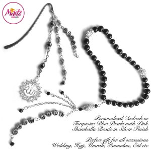 Madz Fashionz UK: Personalised Tasbeeh and Quran Bookmark Pin Set with Black Pearls in Silver