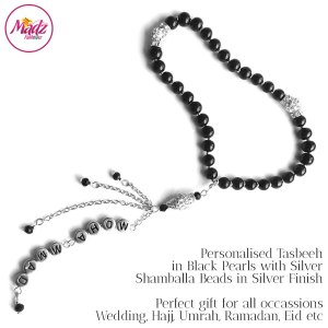 Madz Fashionz UK: 33 Beads Personalised Tasbeeh in Black Pearls with Silver Shamballa Beads in Gold Finish