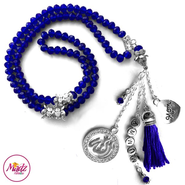 Madz Fashionz UK: 99 Beads Personalised Tasbeeh with Royal Blue Crystals in Silver Finish