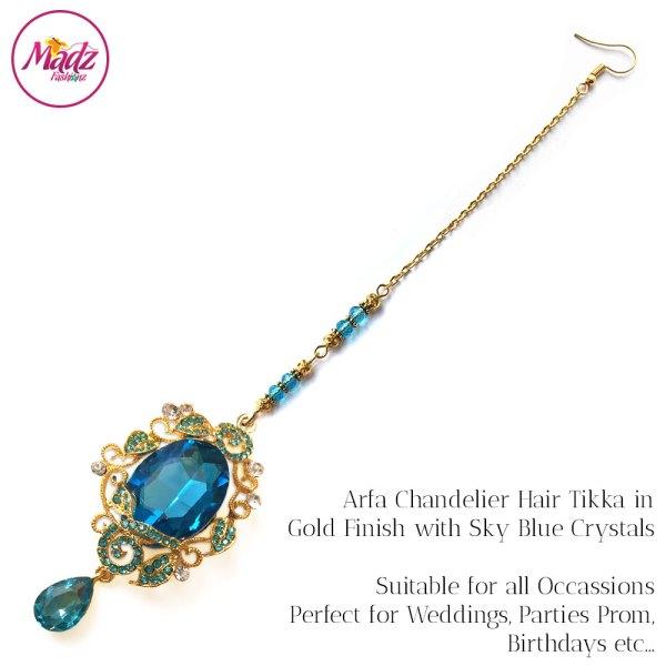 Madz Fashionz UK: Arfa Gold Sky Blue Chandelier Maang Tikka Headpiece Hair Tikka