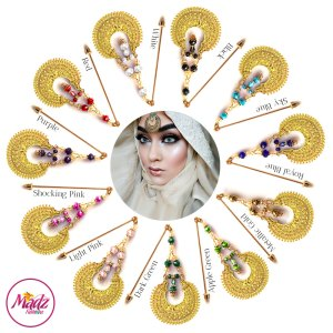Madz Fashionz UK: ItsCutieBeauty Kundan Hijab Pin Stick Pin Hijab Jewels Hijab Pins Gold Finish