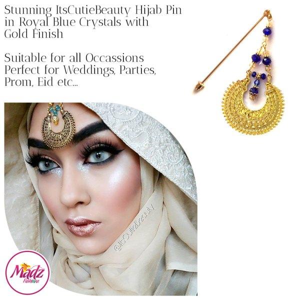 Madz Fashionz UK: ItsCutieBeauty Kundan Hijab Pin Stick Pin Hijab Jewels Hijab Pins Gold Royal Blue