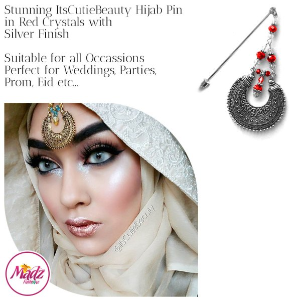 Madz Fashionz UK: ItsCutieBeauty Kundan Hijab Pin Stick Pin Hijab Jewels Hijab Pins Silver Red