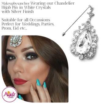 Madz Fashionz UK: Makeupbysanchez Chandelier Drop Hijab Pin Stick Pin Hijab Jewels Hijab Pins Silver White