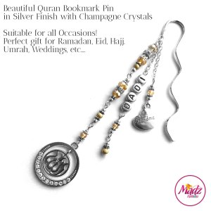 Madz Fashionz UK: Personalised Quran Bookmarks Pins Gifts in Champagne Crystals with Silver Finish