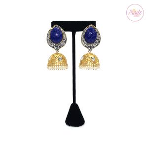 Madz Fashionz UK Fiza Stone Kundan Jhumkas Royal Blue Earrings Indian Jewellery Pakistani Jewellery