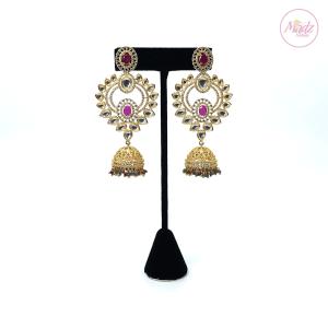 Madz Fashionz UK Luxury Nawaab Jhumka Kundan Pink Green Earrings Indian Jewellery Pakistani Jewellery