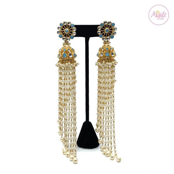Madz Fashionz UK Nadiya Pearled Kundan Jhumkas Sky Blue Earrings Indian Jewellery Pakistani Jewellery
