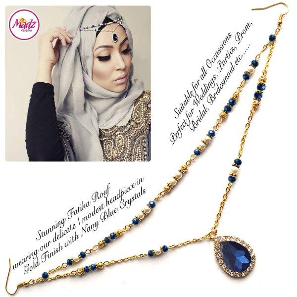 Madz Fashionz USA - Fatiha World Tear Drop Headpiece Gold and Navy Blue Crystals