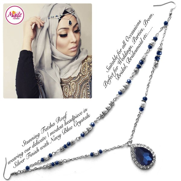 Madz Fashionz USA - Fatiha World Tear Drop Headpiece Silver and Navy Blue Crystals
